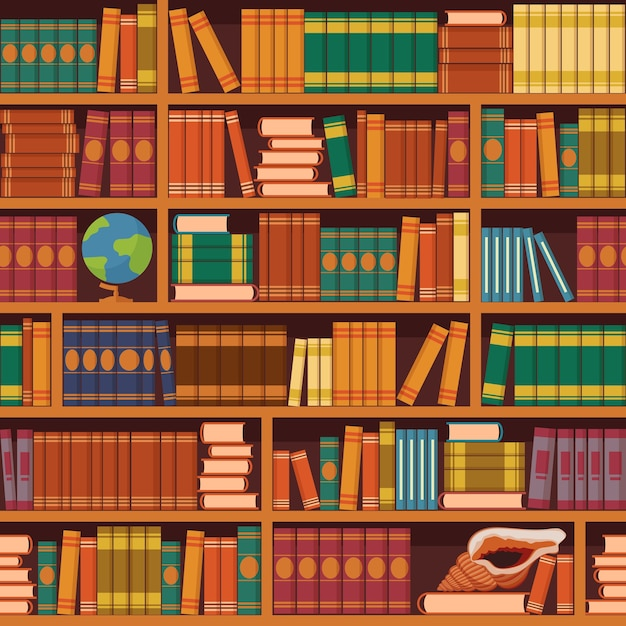 Seamless books  illustration of vintage retro academic bookshelve pattern for bookstore and library background or wallpaper. Premium Vector
