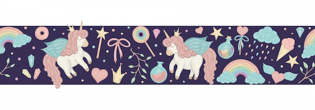 Seamless border brush with cute watercolor style unicorns, rainbow, clouds, crystals, hearts on dark purple background. Premium Vector