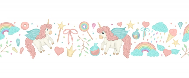 Seamless border brush with cute watercolor style unicorns, rainbow, crystals, hearts. Premium Vector