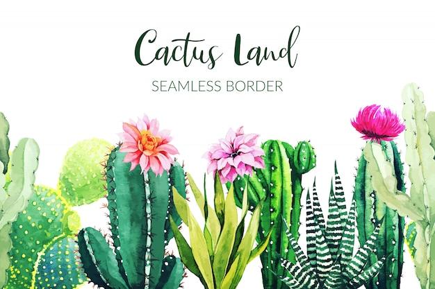Бесшовные границы, состоящие из акварельных растений кактуса Premium векторы