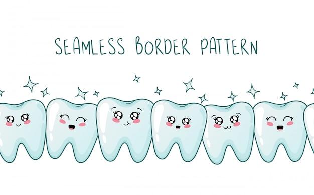 Seamless border pattern - kawaii healthy teeth together with emoji Premium Vector