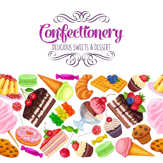 Seamless border with confectionery Premium Vector