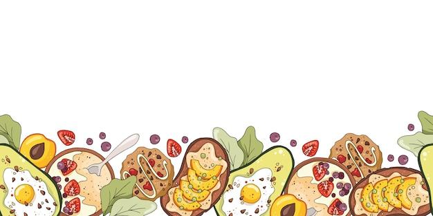 Бесшовные границы с овсяной кашей, авокадо с яйцом, печенье, фруктовый бутерброд. Premium векторы