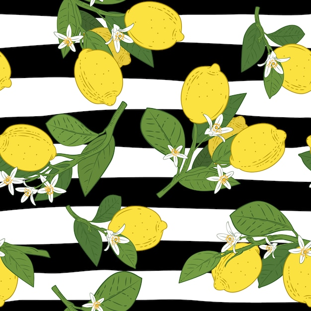 Seamless of branches with lemons Premium Vector