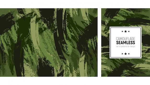 Seamless brush stroke pattern. camouflage modern background Premium Vector