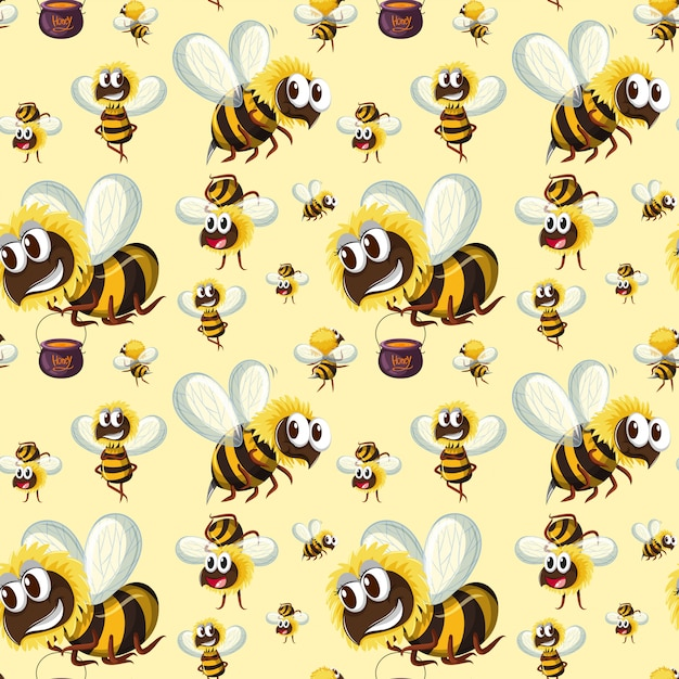 Seamless Bumble Bee Pattern Vector Free Download Amazing Bee Pattern