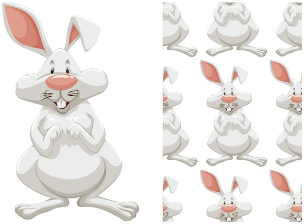 Seamless bunny pattern isolated on white Free Vector