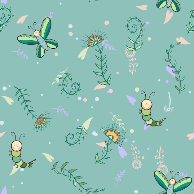 Seamless Butterfly And Caterpillar Background Premium Vector