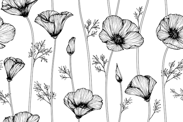 Seamless California Poppy Flower Pattern Background Vector