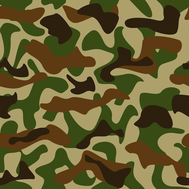 Seamless camouflage pattern green and brown colors Free Vector