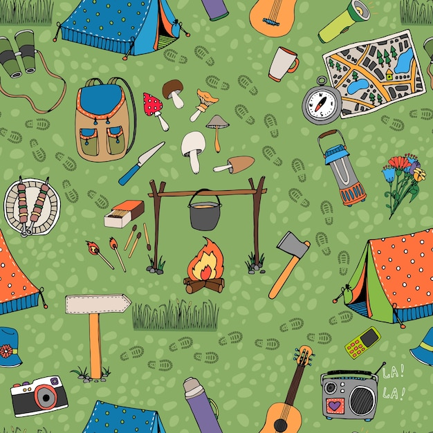 Seamless camping vector pattern with tents  a campfire  radio  mushrooms  backpack  binoculars  map and guitar scattered Free Vector