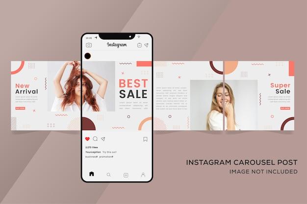 カラフルなファッション販売のためのシームレスなカルーセルinstagramテンプレートバナー Premiumベクター