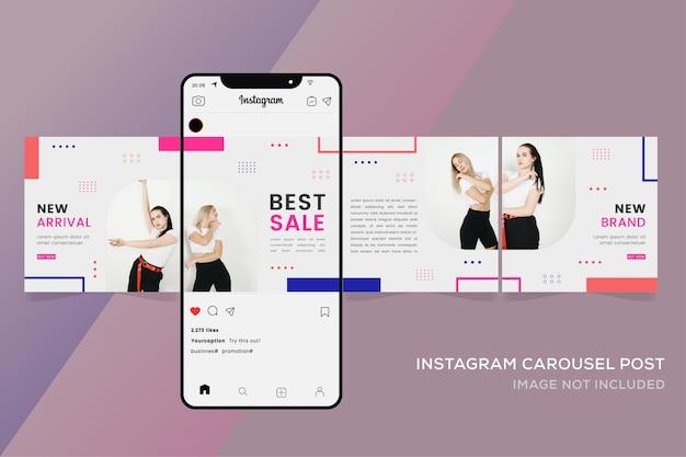 패션 판매를위한 원활한 회전 목마 템플릿 Instagram Posts 프리미엄 벡터