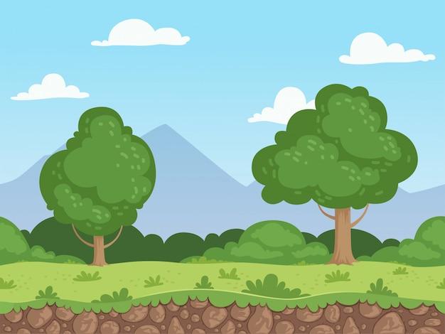 Бесшовные мультфильм пейзаж. параллакс природа панорама земля с травой деревьев и скал фон Premium векторы