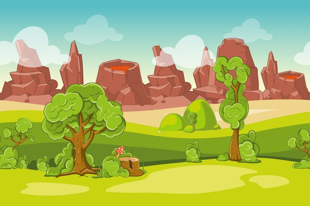 Seamless cartoon nature landscape with trees, rocks and volcanoes. mountain and lava, vector illustration Free Vector