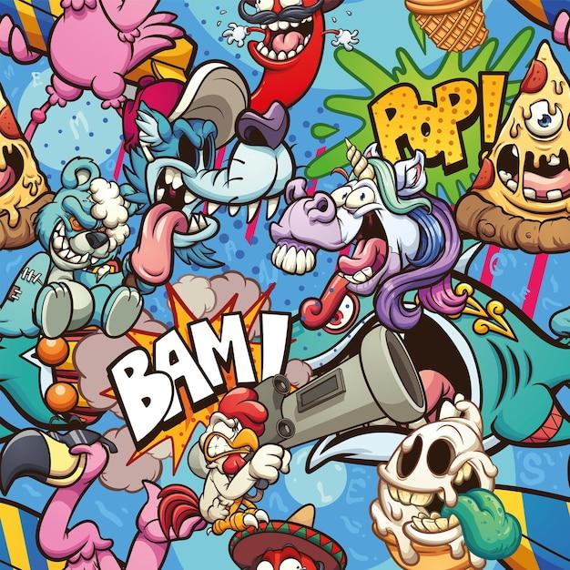 異なるキャラクターとのシームレスな漫画のパターン Premiumベクター
