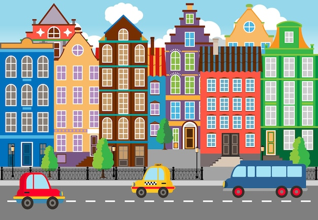 Seamless cartooned cartooned city life portrait. designed with huge buildings along the street. Free Vector