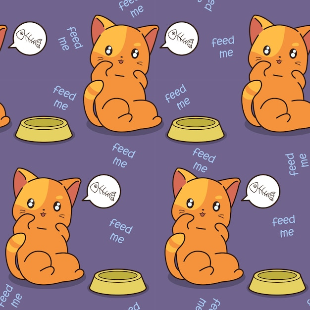 Seamless cat is hungry pattern. Premium Vector