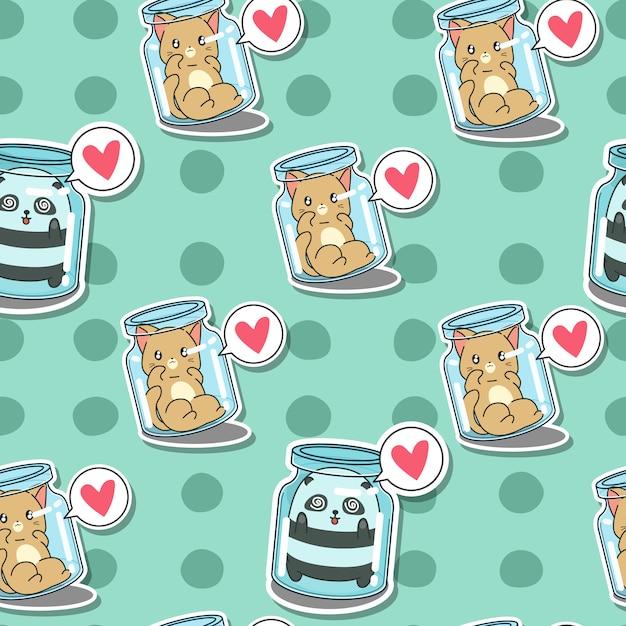 Seamless cat and panda in bottle pattern. Premium Vector