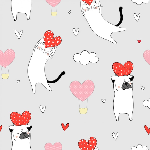 Seamless cat and pug dog holding red heart for valentine Premium Vector