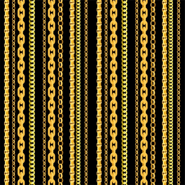 Seamless chain pattern. gold chains elements,  golden jewellery endless objects for necklaces and chains  on black background Premium Vector