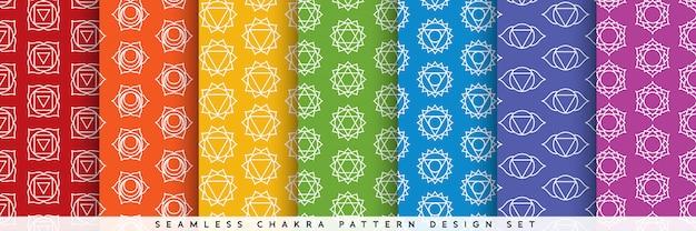 Seamless chakra pattern design set Premium Vector