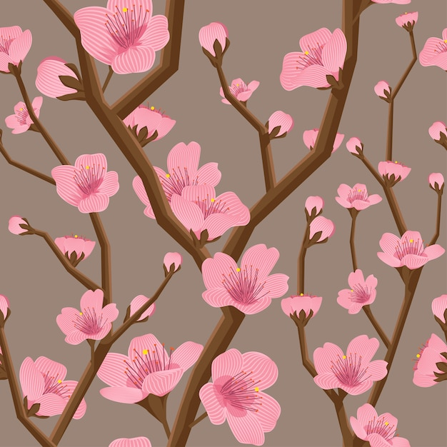 원활한 벚꽃 꽃 패턴 프리미엄 벡터
