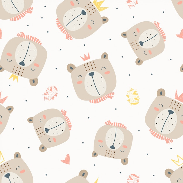 Seamless childish pattern head of bear with crown in the white backdrop Premium Vector
