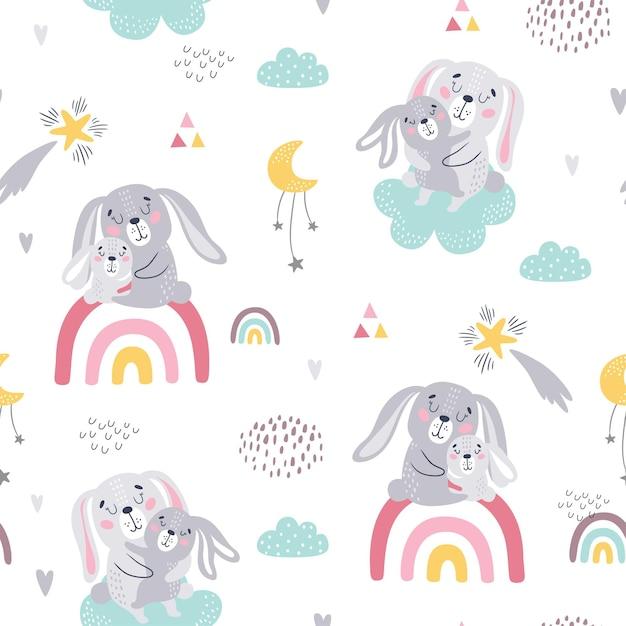 귀여운 토끼의 원활한 유치 패턴입니다. 프리미엄 벡터