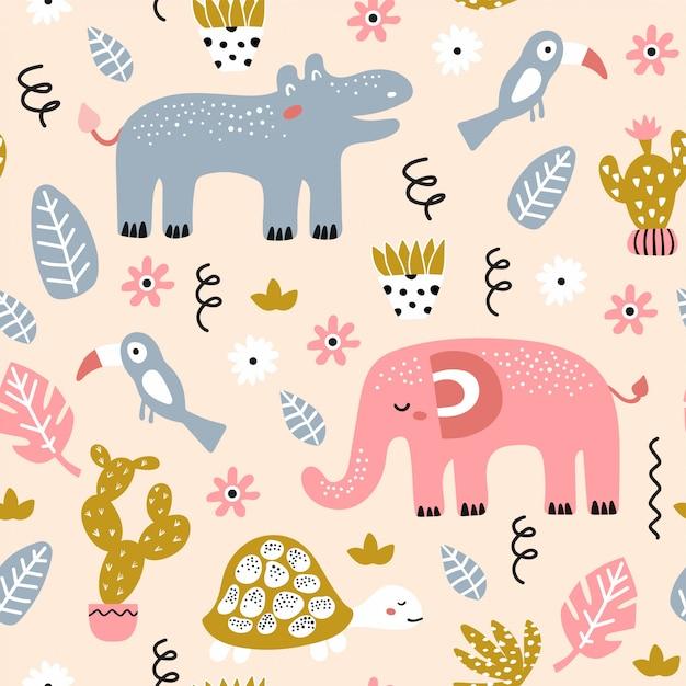 Seamless childish pattern with african animals Premium Vector