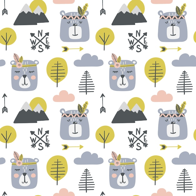 Seamless childish pattern with bears Premium Vector