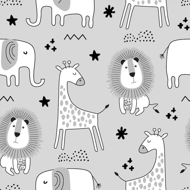 黒と白のスタイルでかわいい動物とのシームレスな幼稚なパターン。 Premiumベクター