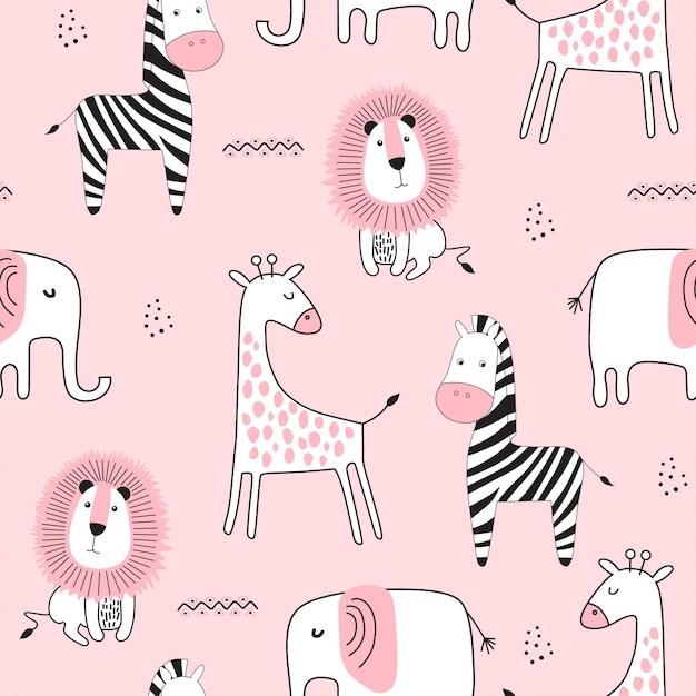 Seamless childish pattern with cute animals Premium Vector