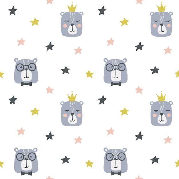 Seamless childish pattern with cute bears. Premium Vector