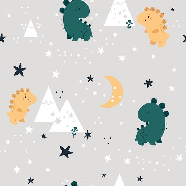 Безшовная ребяческая картина с милыми динозаврами в лесе. детский фон Premium векторы