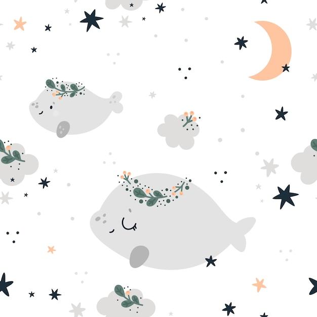 Безшовная ребяческая картина с милыми китами, звездами и луной. детский фон Premium векторы