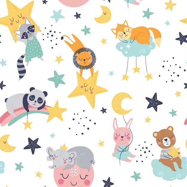 キツネ、クマ、ライオン、パンダ、アライグマ、バニー、象、雲、月、星とのシームレスな幼稚なパターン。 Premiumベクター