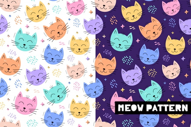 Seamless childish pattern with funny cat animals faces Premium Vector