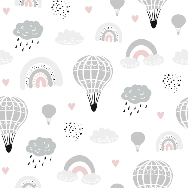Seamless childish pattern with hand drawn ballons Premium Vector