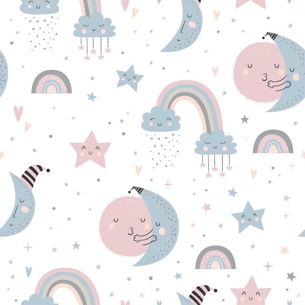 달, 구름, 무지개와 별이 빛나는 하늘 원활한 유치 패턴. 프리미엄 벡터