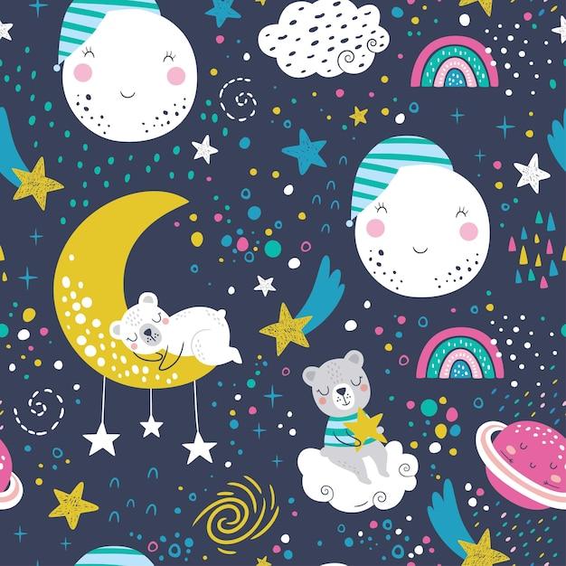 잠자는 곰, 구름, 무지개, 달, 행성 및 별과 원활한 유치 패턴. 프리미엄 벡터