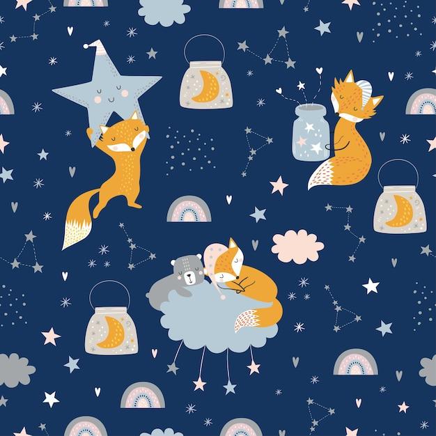 잠자는 여우, 곰, 구름, 무지개, 별과 별자리와 항아리와 원활한 유치 패턴. 프리미엄 벡터