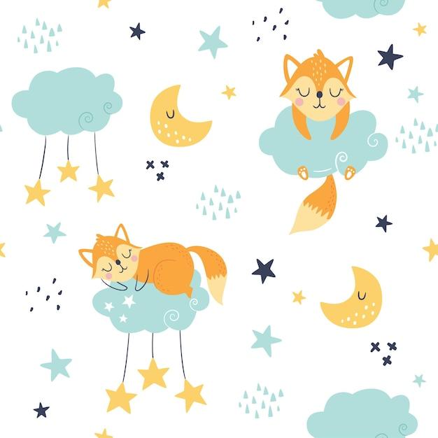 잠자는 여우, 구름, 달과 별과 원활한 유치 패턴. 프리미엄 벡터