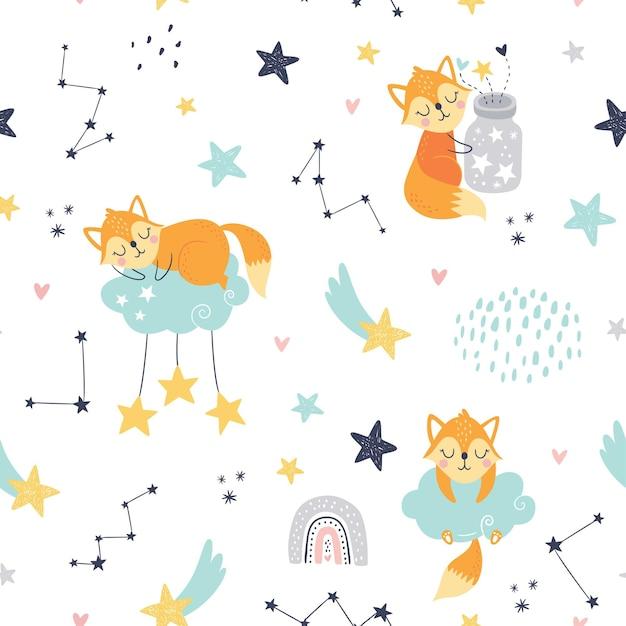 잠자는 여우, 구름, 무지개, 별과 별자리와 항아리와 원활한 유치 패턴. 프리미엄 벡터