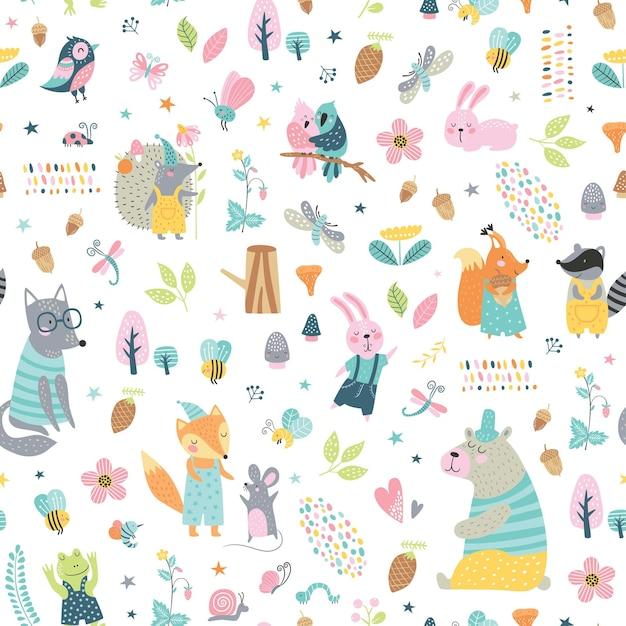 숲 동물들과 함께 완벽 한 유치 한 패턴입니다. 귀여운 늑대, 곰, 너구리, 여우, 토끼, 다람쥐 옷, 재미있는 캐릭터. 프리미엄 벡터