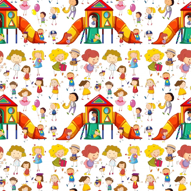 Seamless children playing and having fun Free Vector