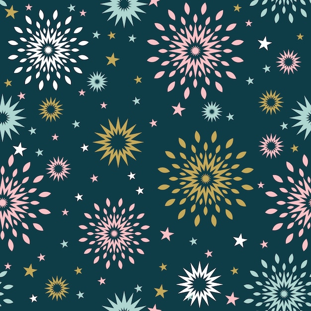 Seamless christmas background with star burst Premium Vector
