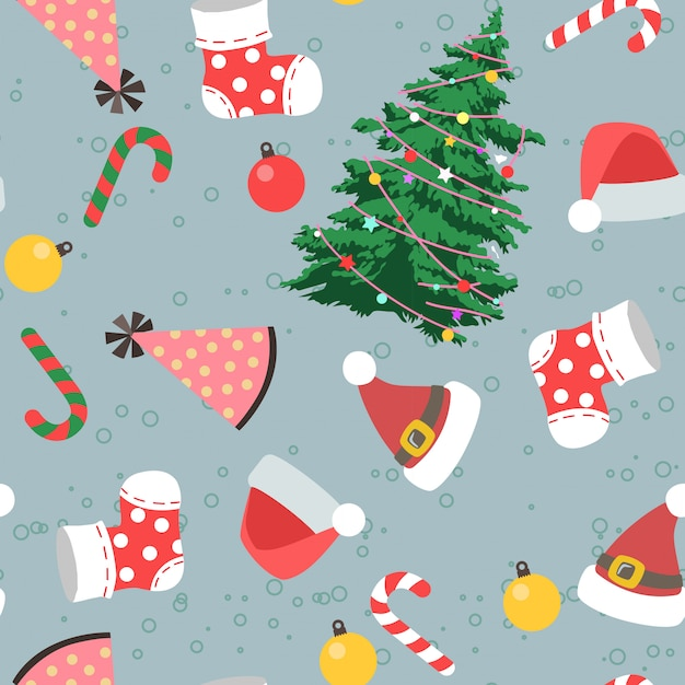 Seamless christmas day in cartoon style pattern Premium Vector