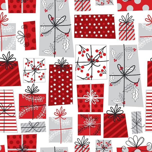 Бесшовные рождественский подарок с красным и белым цветом Premium векторы
