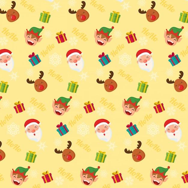 Seamless christmas pattern. santa clous reindeer and elf Premium Vector